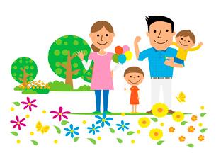 家族と公園のイラスト素材 [FYI02835734]