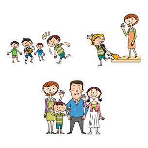 小学生男子の健康と家族と学校生活のイラスト素材 [FYI02835742]