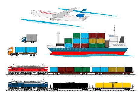 輸送手段(コンテナ車、飛行機、貨物船)のイラスト素材 [FYI02835767]
