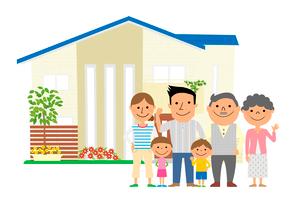 住宅と三世代家族のイラスト素材 [FYI02835784]