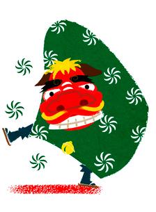 獅子舞のお正月イメージのイラスト素材 [FYI02835788]