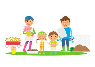 庭でガーデニングを楽しむ家族のイラスト素材 [FYI02835801]