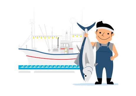 漁船と漁師のイラスト素材 [FYI02835829]