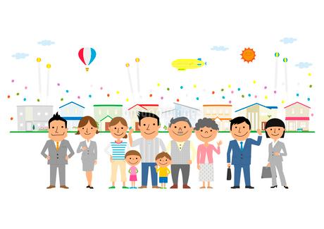 住宅展示場に来た三世代家族と営業マンのイラスト素材 [FYI02835830]