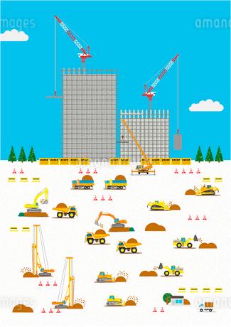 高層マンション建設の工事現場で働く車のイラスト素材 [FYI02835831]