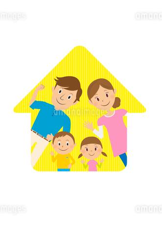 家族と家のイラスト素材 [FYI02835843]