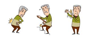 高齢男性の医療 腰痛と膝の関節痛と肩の痛みのイラスト素材 [FYI02835850]