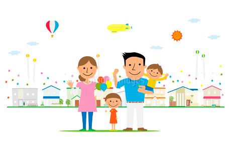 住宅展示場に来た家族のイラスト素材 [FYI02835854]