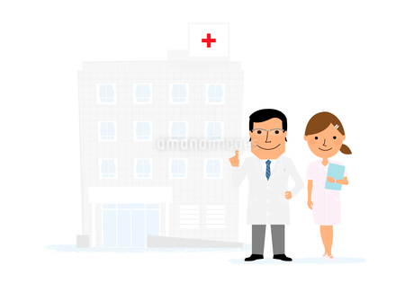 病院と医者と看護士のイラスト素材 [FYI02835859]