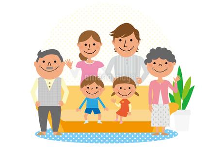 ソファと三世代家族のイラスト素材 [FYI02835863]