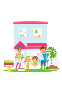 庭でガーデニングを楽しむ家族のイラスト素材 [FYI02835881]