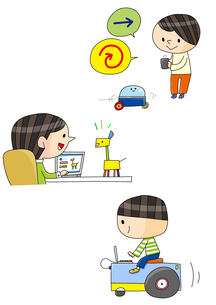 プログラミング教育 ロボットを操る男の子 のイラスト素材 [FYI02835882]
