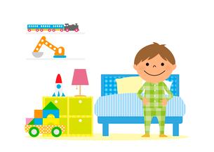 子供部屋とパジャマを着た男の子のイラスト素材 [FYI02835887]