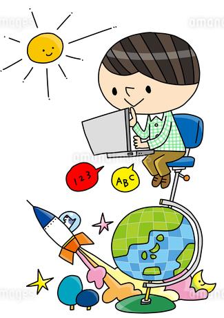 理科教室 プログラミング教育 PCを打つ 考える子どものイラスト素材 [FYI02835899]