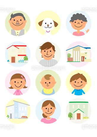 家族と住宅のイラスト素材 [FYI02835911]