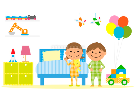 子供部屋とパジャマを着た男の子と女の子のイラスト素材 [FYI02835913]