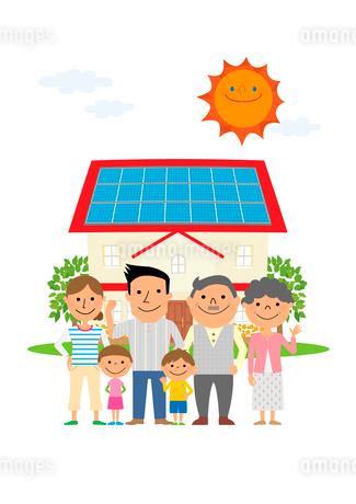 住宅の太陽光発電と三世代家族のイラスト素材 [FYI02835916]