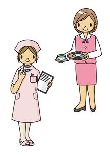お茶を入れるOLとカルテを持つ看護士のイラスト素材 [FYI02835954]
