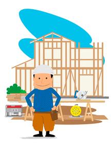 住宅建設の工事現場と大工さんのイラスト素材 [FYI02835955]