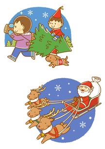 クリスマスツリーを運ぶ子供、ソリにのるサンタクロースのイラスト素材 [FYI02835961]