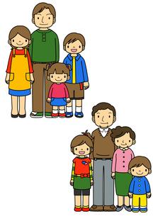 4人家族と祖父祖母と孫のイラスト素材 [FYI02835968]
