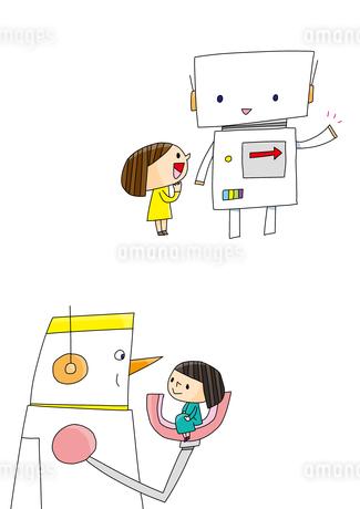 プログラミング教育 ロボットを操る女の子 ロボットと女の子のイラスト素材 [FYI02835973]