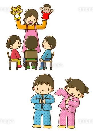 パペットで劇をする保育士さんとパジャマに着替える保育園児のイラスト素材 [FYI02835993]