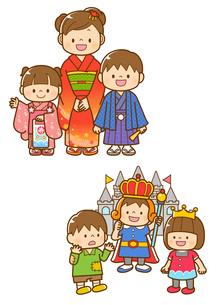 七五三の着物を着た子ども、学芸会の劇をする子どものイラスト素材 [FYI02835995]