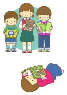 読書をする小学生のイラスト素材 [FYI02836007]