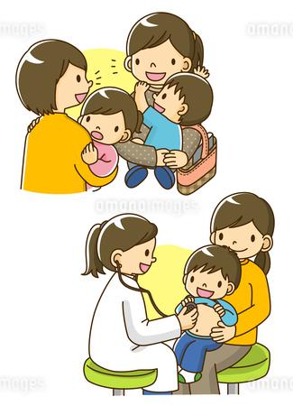 立ち話をするママ友と診察をする小児科の先生のイラスト素材 [FYI02836024]