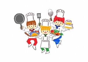 料理をする子供たちのイラスト素材 [FYI02836029]