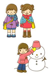 冬の服装をする子供と雪だるまを作る子供のイラスト素材 [FYI02836030]