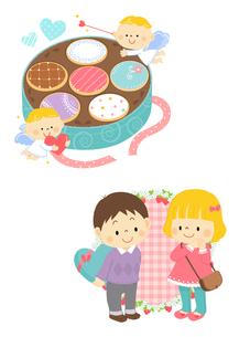 ホワイトデーのクッキーと天使、ホワイトデーの男の子と女の子のイラスト素材 [FYI02836031]