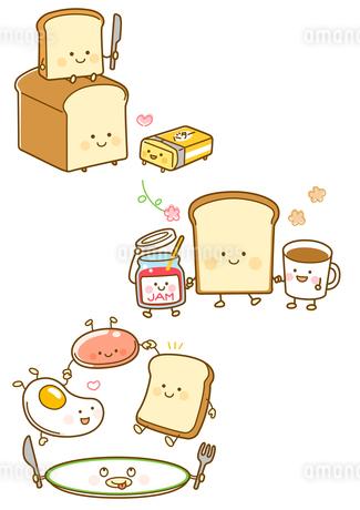 パンとバター、パンとコーヒーとジャム、朝食プレートのイラスト素材 [FYI02836032]