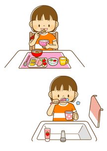 食事を取る女の子、歯をみがく女の子のイラスト素材 [FYI02836037]