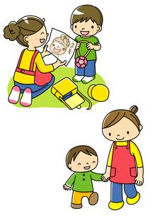 母の日に似顔絵をプレゼントする子供と散歩する親子のイラスト素材 [FYI02836038]