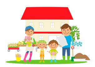 庭でガーデニングを楽しむ家族のイラスト素材 [FYI02836054]