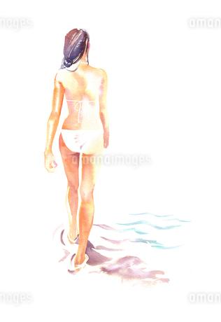 水着で歩く女性のイラスト素材 [FYI02836055]