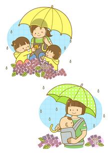 傘をさした先生と園児と雨の中散歩する親子のイラスト素材 [FYI02836061]