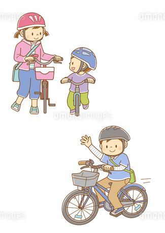 自転車を押す女の子とランニングバイクに乗る男の子、自転車に乗って手を振る男の子のイラスト素材 [FYI02836067]