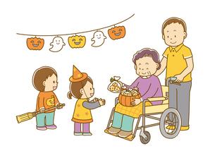 車椅子に座ったおばあさんにハロウィンのお菓子をもらう子どもたちのイラスト素材 [FYI02836070]