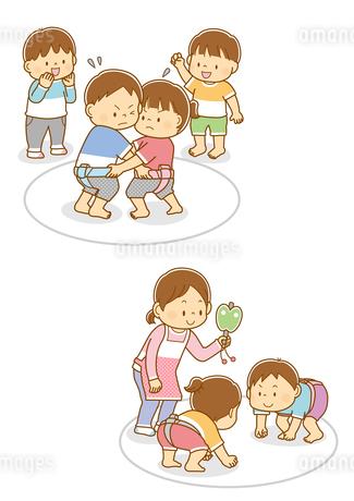 相撲を取る子供たち、相撲を取る子供たちと行司をする先生のイラスト素材 [FYI02836072]