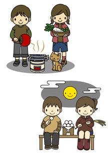 秋刀魚を焼く子供と十五夜でお月見をする子供のイラスト素材 [FYI02836073]