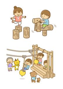 木の遊具とターザンロープであそぶこどもたちのイラスト素材 [FYI02836077]