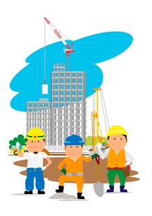 高層マンション建設の工事現場と働く人たちのイラスト素材 [FYI02836092]