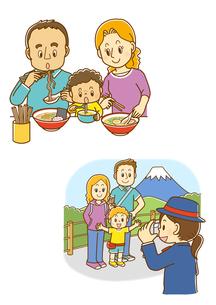 ラーメンを食べる外国人家族、記念撮影をする白人家族のイラスト素材 [FYI02836093]