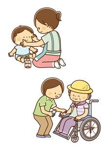 赤ちゃんに日焼け止めをぬるお母さん、車いすの高齢者に日焼け止めを塗るヘルパーさんのイラスト素材 [FYI02836094]