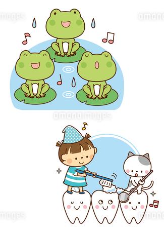 カエルの合唱、歯のキャラクターと歯みがきする子供と猫のイラスト素材 [FYI02836099]