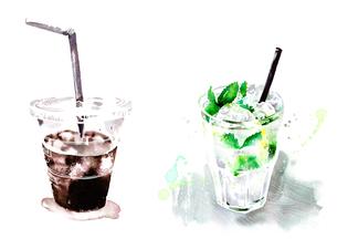 プラスチックカップに入ったアイスコーヒーとモヒートのイラスト素材 [FYI02836102]
