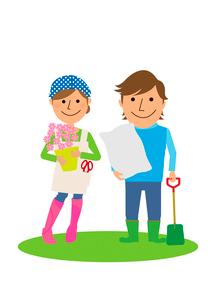 庭でガーデニングを楽しむ夫婦のイラスト素材 [FYI02836103]